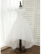 A-Line/Princess Asymmetrical Flower Girl Dress - Satin/Tulle Sleeveless Scoop Neck With V Back