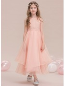 A-Line Scoop Neck Ankle-Length Organza Junior Bridesmaid Dress With Beading Sequins