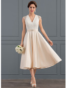 A-Line V-neck Tea-Length Satin Wedding Dress With Beading Sequins