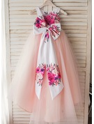A-Line Asymmetrical Flower Girl Dress - Satin/Tulle Sleeveless Scoop Neck With Flower(s)/Bow(s)