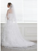 Two-tier Cathedral Bridal Veils With Ribbon Edge