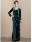 A-Line V-neck Floor-Length Velvet Mother of the Bride Dress With Beading Sequins Cascading Ruffles
