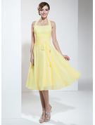 Halter Empire Knee-length Chiffon Bridesmaid Dress With Ruffle Bow
