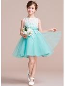 A-Line Knee-length Flower Girl Dress - Tulle/Lace Sleeveless Scoop Neck With Sash/V Back