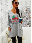 Rund hals Lange ermer Regelmessig Christmas Trykk Tekst lommer Jerseykjorte
