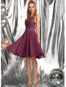 A-Line Scoop Neck Knee-Length Chiffon Prom Dresses With Beading