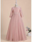 A-Line Floor-length Flower Girl Dress - Tulle Long Sleeves Scoop Neck With Beading/V Back