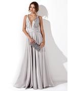 A-formet/Prinsesse V-hals Gulvlengde silke som sateng Festkjole med Frynse