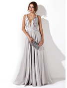 A-Line/Princess V-neck Floor-Length silk like satin Evening Dress With Ruffle