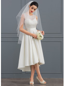 A-Formet Illusjon Asymmetrisk Satin Blonder Brudekjole