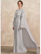 Sheath/Column Scoop Neck Floor-Length Chiffon Lace Mother of the Bride Dress