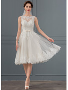 A-Line Illusion Knee-Length Tulle Wedding Dress With Bow(s)