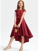 A-Line Scoop Neck Asymmetrical Satin Lace Junior Bridesmaid Dress