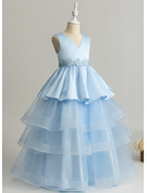 Ball-Gown/Princess Floor-length Flower Girl Dress - Tulle/Lace Sleeveless V-neck
