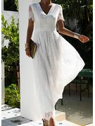 Lace Solid A-line V-Neck Short Sleeves Maxi Elegant Skater Dresses