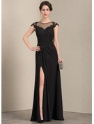 A-Line/Princess Scoop Neck Floor-Length Chiffon Lace Mother of the Bride Dress With Beading Sequins Split Front