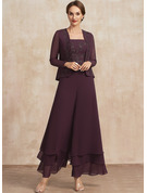 Jumpsuit/Pantsuit Square Neckline Ankle-Length Chiffon Lace Mother of the Bride Dress With Sequins