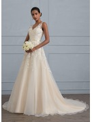 Ball-Gown V-neck Court Train Tulle Wedding Dress