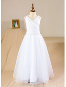 A-Line/Princess Floor-length Flower Girl Dress - Tulle Sleeveless V-neck With Beading/Sequins/Pleated