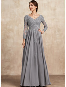 A-Line V-neck Floor-Length Chiffon Lace Mother of the Bride Dress