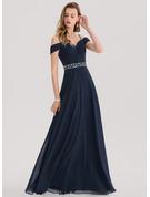 A-Line/Princess Sweetheart Floor-Length Chiffon Evening Dress With Beading Sequins