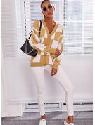 V-hals Lange ermer Regelmessig Color Block Avslappet Cardigans