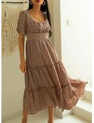 Trykk A-line kjole Firkantet utringning Kortermer Midi Avslappet skater Motekjoler