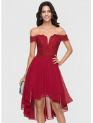 A-Line Off-the-Shoulder Asymmetrical Chiffon Homecoming Dress