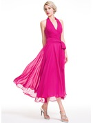 A-Line Halter Asymmetrical Chiffon Bridesmaid Dress With Ruffle Bow(s)