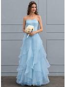 A-Line Sweetheart Floor-Length Organza Wedding Dress With Cascading Ruffles