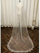 One-tier Cut Edge Chapel Bridal Veils With Applique/Sequin