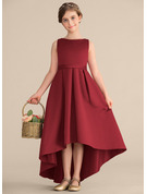 A-Line Scoop Neck Asymmetrical Satin Junior Bridesmaid Dress With Ruffle Pockets