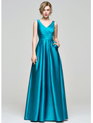 A-Line V-neck Floor-Length Satin Bridesmaid Dress With Ruffle Pockets