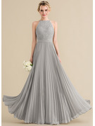 A-Line Scoop Neck Floor-Length Chiffon Lace Prom Dresses With Pleated