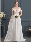 A-Line/Princess Sweetheart Sweep Train Chiffon Wedding Dress With Beading Sequins