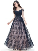 Ball-Gown Sweetheart Floor-Length Lace Prom Dresses With Ruffle Beading Sequins