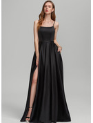 A-Line Square Neckline Floor-Length Satin Bridesmaid Dress With Split Front Pockets