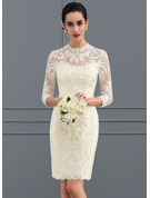 Sheath/Column High Neck Knee-Length Lace Wedding Dress