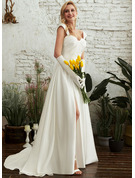 Ball-Gown/Princess Sweetheart Sweep Train Wedding Dress With Split Front