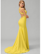 Trumpet/Mermaid V-neck Sweep Train Stretch Crepe Prom Dresses