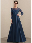 A-Line Scoop Neck Floor-Length Satin Lace Mother of the Bride Dress With Beading