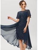 Sheath/Column Scoop Neck Asymmetrical Chiffon Lace Cocktail Dress