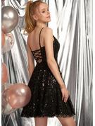 A-Line V-neck Short/Mini Sequined Prom Dresses