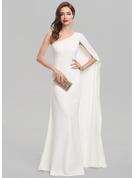 Sheath/Column One-Shoulder Floor-Length Stretch Crepe Wedding Dress