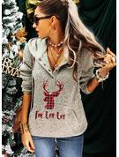 Lange ermer Regelmessig Christmas Dyr Ut Rutete lommer Figur Jerseykjorte
