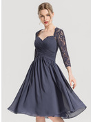 A-Line Sweetheart Knee-Length Chiffon Cocktail Dress With Ruffle
