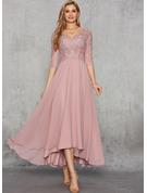 A-Line V-neck Asymmetrical Chiffon Evening Dress With Sequins