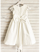 A-Line Knee-length Flower Girl Dress - Satin Sleeveless Scoop Neck With Lace/Bow(s)