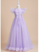 Ball-Gown/Princess Floor-length Flower Girl Dress - Tulle Short Sleeves Scoop Neck With Beading