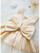 Ball-Gown/Princess Knee-length Flower Girl Dress - Sleeveless Scalloped Neck With Lace/Beading/Bow(s)/Rhinestone